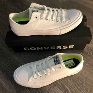 Converse Ox White with Navy logo